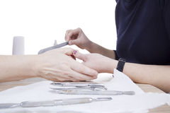 Manicure procedure in beauty salon Royalty Free Stock Images