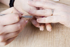 Manicure procedure in beauty salon Royalty Free Stock Image