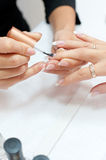 Manicure procedure, closeup Royalty Free Stock Photo
