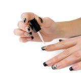 Manicure. Proces laka na gwoździach. fotografia royalty free