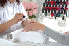 Manicure process. Beauty salon. Stock Photography