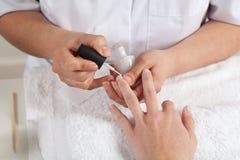 Manicure process. Beauty salon. Royalty Free Stock Photography