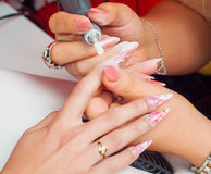 Manicure process in beauty salon Royalty Free Stock Images