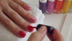 Manicure process in beauty salon stock video footage