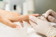 Manicure process in a beauty salon Royalty Free Stock Images