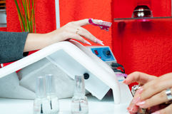 Manicure process in beauty salon Royalty Free Stock Photos