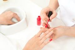Manicure process closeup Royalty Free Stock Image