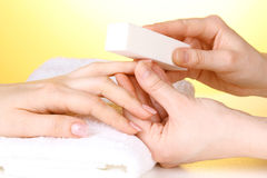 Manicure process in salon Royalty Free Stock Photos