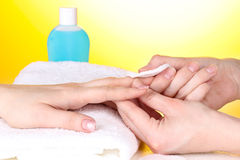 Manicure process in salon stock images