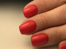 Manicure profondo perfetto con le unghie rosse della lucidatura del gel Immagini Stock Libere da Diritti