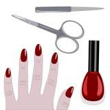 Manicure ręka i set Obrazy Royalty Free