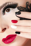 Manicure with red lips. royalty free stock photography