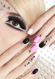 Manicure with rhinestones. Stock Photo