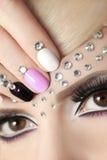 Manicure with rhinestones. royalty free stock photo