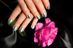 Manicure with rose stock photography