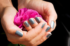 Manicure with rose stock photos