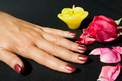 Manicure with rose Royalty Free Stock Photo