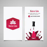 Manicure salon business card vector design templates set Royalty Free Stock Photography