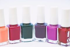 Manicure salon. Gel polish modern technology. Fashion trend. Nail polish bottles. Beauty and care concept. Durability. And quality polish coating. Nail polish stock image