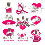 Manicure salon and nails studio vector flat icons templates. Manicure salon and nails care studio vector logo templates set. Symbols of woman hands and pink or Stock Image