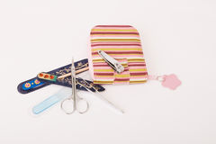 Manicure Set. Case isolated on a white background stock photos