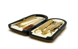 Manicure Set. With shiny gold tools Royalty Free Stock Image