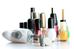 Manicure Set. In front of nial polish bottles royalty free stock image