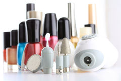Manicure Set. In front of nail polish bottles royalty free stock image