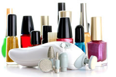 Manicure Set. In front of nail polish bottles stock photo