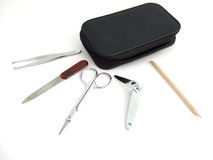 Manicure set. The composition with manicure set with different objects Royalty Free Stock Photos
