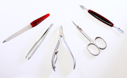 Manicure set. Manicure tools, Nippers nail, Scissors nail, Tweezers cut, scraper, File for nails stock images