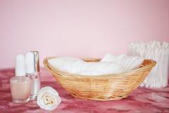 Manicure set. On pink background royalty free stock image