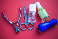 Manicure set beauty hands. red background Royalty Free Stock Images