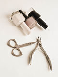 Manicure set beauty hands a white background Stock Images