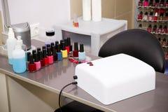 Manicure set. In a beauty salon stock image