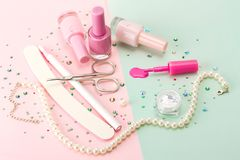 Manicure set on a colored background. Stock Images