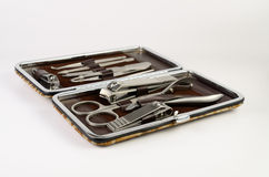Manicure set. Tools of manicure set ,nail cutter stock photos