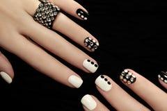 Manicure on short nails . stock image