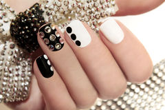 Manicure on short nails . Royalty Free Stock Photography