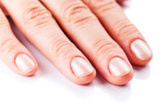 Manicure on short nails Royalty Free Stock Images