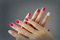 Manicure short red nails Stock Photos
