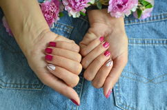 Manicure short red nails Royalty Free Stock Photo