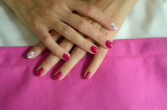 Manicure short red nails Stock Photography