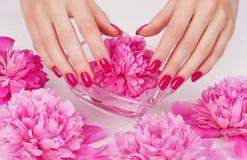 Manicure spa dat met roze bloem vertroetelt Stock Fotografie