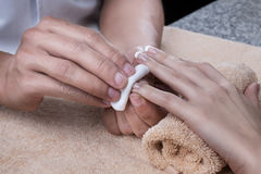 manicure Spika polermedelborttagning Royaltyfria Foton