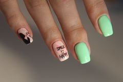 Manicure stamping design. For beautiful, cute girls Royalty Free Stock Image