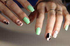 Manicure stamping design. For beautiful, cute girls Stock Photos