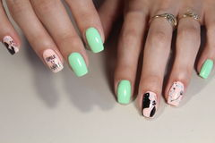 Manicure stamping design. For beautiful, cute girls Stock Image
