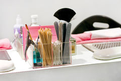 Manicure table. Close up shot of manicure set at table Royalty Free Stock Image