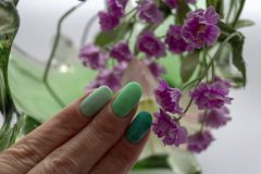 Manicure with three shades of green color. Manicure with a coating of three shades of green against the background of artificial flowers royalty free stock image